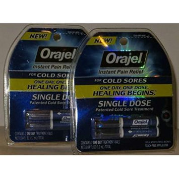 Orajel Cold Sore Treatment 2 Vials Each Pk (Pack of 2)