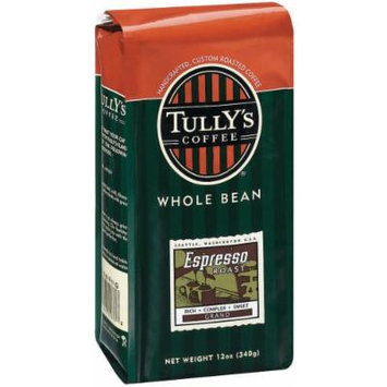 Tully's Coffee Espresso, Whole Bean , 12 Ounce Bags (Pack of 3)