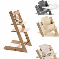 Stokke Tripp Trapp Chair w Baby Set, Stokke Tray & Grey Loom Cushion (Natural)