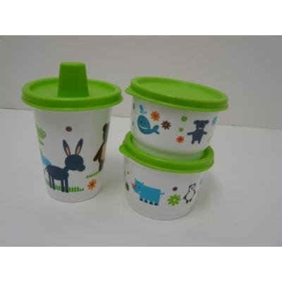 Tupperware Early Ages Snack Containers (2) with Sippy Cup