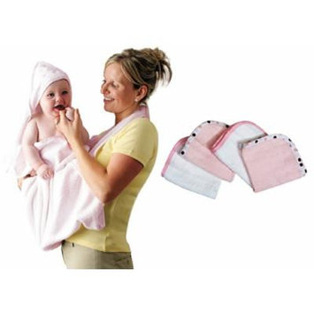 Clevamama Splash and Wrap Hooded Towel with Washcloths, Pink