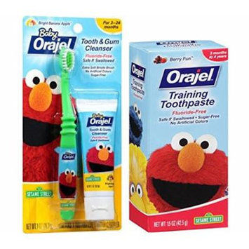 Seasame Street's Elmo Ready...Set...Brush! Baby Orajel Elmo Tooth & Gum Cleanser Kit Includes (1) Extra Soft Manual Toothbrush + Bonus Tooth Cleaner & (1) Elmo Orajel Berry Fun Training Toothpaste, 1.5 oz - Ages 3 to 24 months