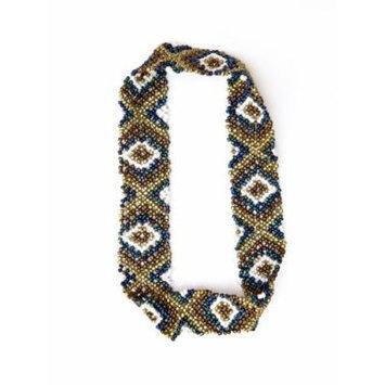 Sizzle City Custom Bling Rhinestone Bohemian Pattern Seed Bead Elastic Stretch Headbands (Native American Seed Bead Headband Style E)