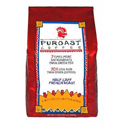 Puroast Low Acid Coffee Half Caff French Roast Whole Bean, 5-Pound Bag