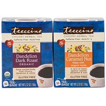 Teeccino Variety Pack (Dandelion Dark Roast, Dandelion Caramel Nut) Chicory Herbal Tea Bags,Caffeine Free, Acid Free, 10 Count (Pack of 6)