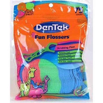 DenTek Fun Flossers for Kids, Wild Fruit Floss Picks,Easy Grip for Kids,75 Count (Pack of 1)