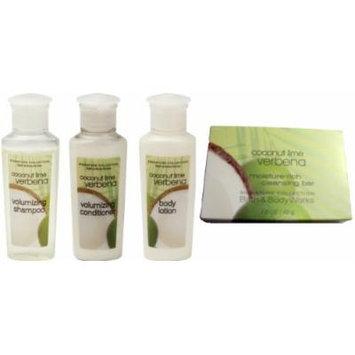 Bath & Body Works Coconut Lime Verbena Travel Set Shampoo, Conditioner, Lotion, Soap