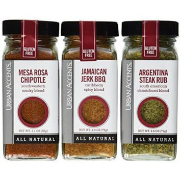 Urban Accents Latin Heat Seasoning, All Natural Gluten Free - Mesa Rosa Chipotle, Argentina Steak Rub, Jamaican Jerk BBQ