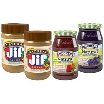 Smucker's Natural Fruit Spreads and Peanut Butter, Pack of 4