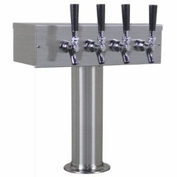 Kegco TTOW-4F-BRUSH Brushed Stainless T-Style 4 Faucet Beer Tower