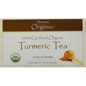 Swanson 100% Certified Organic Turmeric Tea -- 20 Bags (Three Boxes each of 20 Tea Bags)