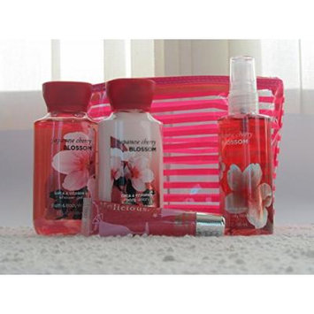 Bath & Body Works Japanese Cherry Blossom 5 Piece Gift Set, Travel Size 3 Oz Body Lotion, Shower Gel, Fragrance Mist, Lip Gloss All in Cute Make Bag.