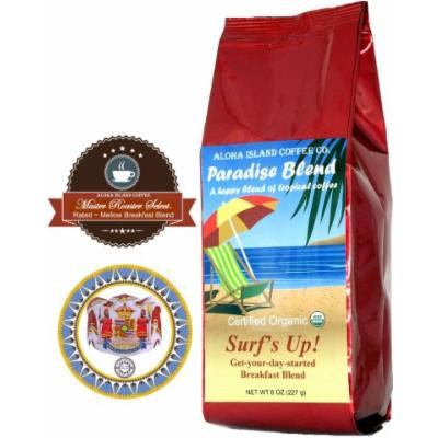 Surf's Up! Breakfast Blend, Certified 100% Organic Coffee, 8 Oz Whole Bean