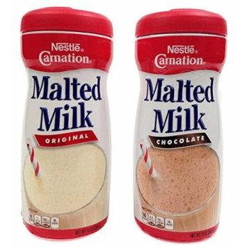 Nestlé Carnation Malted Milk Powder, Chocolate and Orginal Flavor Bundle, 13 Oz Containers (2 Items)