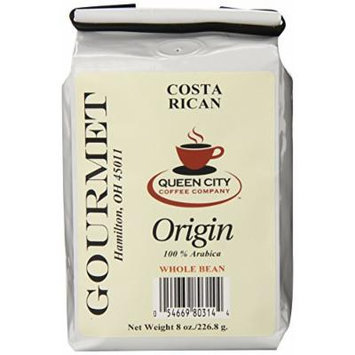 Queen City Costa Rican Tarrazu Whole Bean Coffee, 8-Ounce Bags (Pack of 3)