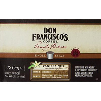 Don Francisco's, Family Reserve, Vanilla Nut, Single Serve Coffee, 12 Count, 4.02oz Box (Pack of 3)