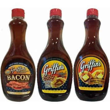 Griffin's Syrup 24oz Bottle (Pack of 3) Choose Flavor Below (Sampler Pack with 1 each of: Original * Bacon & Butter Pecan)