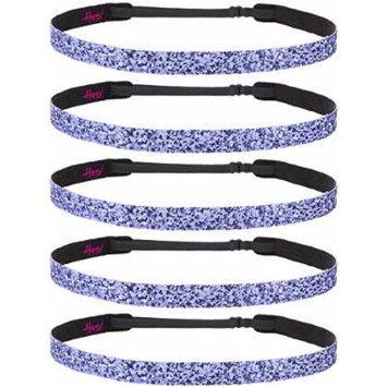 Hipsy Non-Slip Headband Adjustable Cheerleading 5pk Purple Glitter