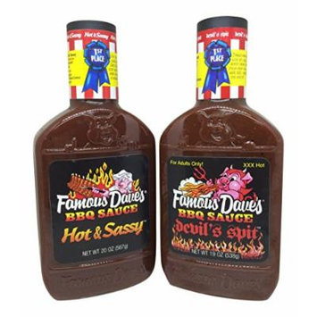 Famous Daves Hot & Sassy and Devils Spit BBQ Sauce Combo