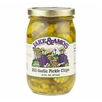 Jake & Amos Dill Garlic Pickle Chips, 16 Oz. Jar (Pack of 2)