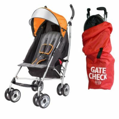 Summer Infant 3D Lite Convenience Stroller with Airport Gate Check Travel Bag, Tangerine