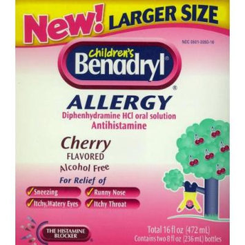 Children's Benadryl Liquid Allergy Relief - NEW Larger Size (8 Fl Oz X 2)
