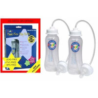 NEW ~ Podee Twin Pack Hands Free Baby Bottle System ~ Double Pack 2 Bottles