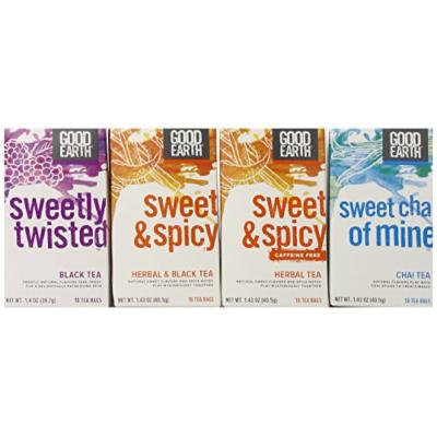 Good Earth Black Tea Variety Pack, 4 Boxes, each with 18 bags