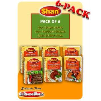 Shan Special BBQ Mix Pack Masala Seasoning 1.75oz., 50g (6-Pack) Chicken Tikka, Tandoori Chicken, & Seekh Kabab Free Recipe Included Exclusive From AllRegionWorld