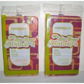 2 Packs of 3 Casabella Clean Its Not Your Mothers Scrub Sponge Retro Pink