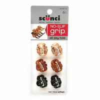 Scunci No-Slip Grip Mini Octo Jaw Clips 6 ea