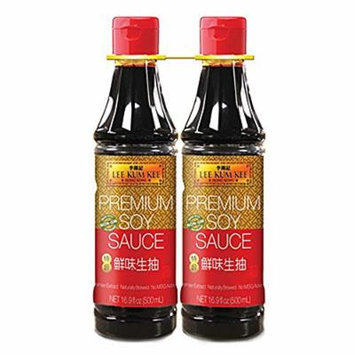 Lee Kum Kee Premium Soy Sauce, Naturally Brewed, No MSG Added - 500ml, 16.9 Fl. Oz (Pack of 2)