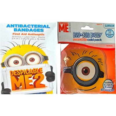 Despicable Me Minions Children's First Aid Kit Accessories Antibacterial Bandages with Minions Original Boo Boo Buddy Reusable Cold Pack Soothes Bumps and Bruises