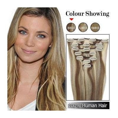 "18"" Clip in Remy Human Hair Extensions 70g 7pcs #8/613 Ash Brown/platinum Brown"