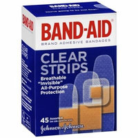 Band-Aid Brand Adhesive Bandages Clear Strips, Assorted Sizes 45 ea Pack of 4