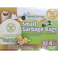 Green N Pack 4 Gallon Fresh Lemon Scent Small Garbage Bags - 30 count (4-Pack)
