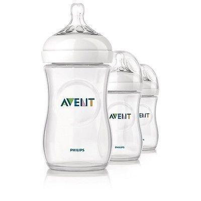 Philips Avent Natural Baby Feeding Bottles 260ml 9oz Triple 3 Pack Scf693/37