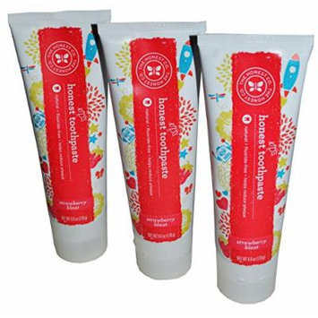 The Honest Company Kids Toothpaste Natural Oral Care Strawberry Blast Pack of 3 (6 Oz Tubes)