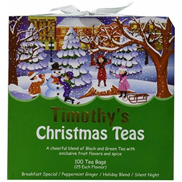 Timothy's Christmas Teas Holiday Blend Silent Night Peppermint Ginger Breakfast Special 100 Tea Bags