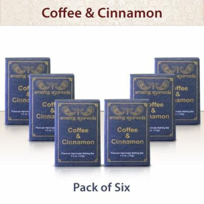 Amazing Ayurveda Premium Handmade Soap- Gentle Handmade 100% Cold Pressed Soap Made Using Nature's Finest Herbs And Oils- No Synthetic Preservatives, Colors or Fragrances. Coffee & Cinnamon 4.4 Ounce - (Pack of 6)