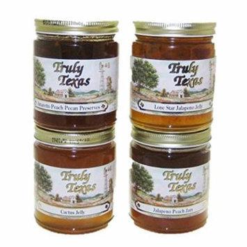 Texas Jelly Jam Variety 4 Pack Truly Texas - Jalapeno, Peach Jalapeno, Amaretto Peach Pecan, Cactus