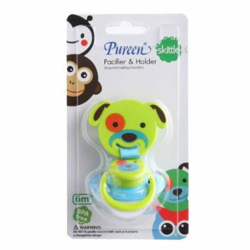 New Pureen Skittle Soother Baby Pacifier and Holder BPA Free for 6 Months+ (Dog)