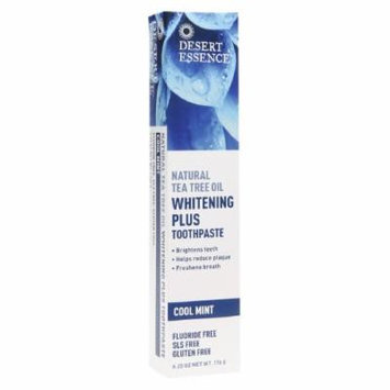 Desert Essence Natural Tea Tree Oil Toothpaste - Whitening Plus, Cool Mint 6.25 oz (176 ml)