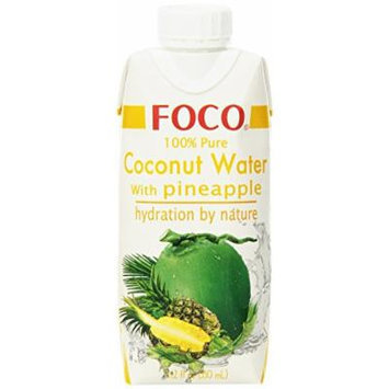 FOCO Pure Coconut Water, Pineapple, 11.2 Fluid Ounce (Pack of 12)