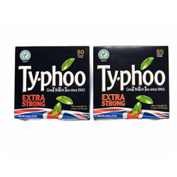 Typhoo Extra Strong Foil Fresh Black Tea Teabags (80 per Pack) - 2 Pack (Total: 160 Teabags)