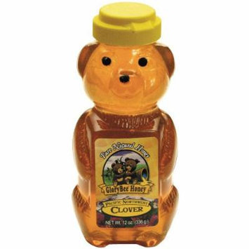 Glorybee Squeezable Organic Honey Bear, Clover, 12 Ounce (Pack of 6)