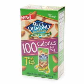Blue Diamond Almonds, 100 Calorie Bags, Whole Natural 7 ea (Pack of 2)