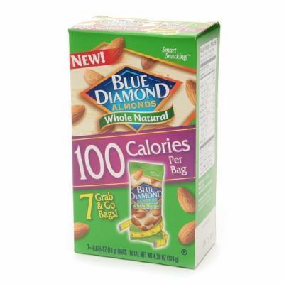 Blue Diamond Almonds, 100 Calorie Bags, Whole Natural 7 ea (Pack of 2)
