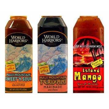 World Harbors Marinade Sauces Variety Bundle, 16 fl oz (Pack of 3) includes (1) Maui Mountain Teriyaki Marinade + (1) Island Style Mango Marinade + (1) Maui Mountain Sweet N Sour Sauce