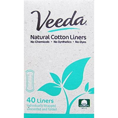 Veeda - 40 Natural Cotton Liners - Individually Wrapped - Pack of 3